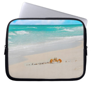 Beautiful Beach With Crab Laptop Sleeve