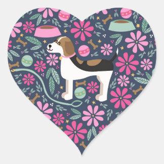 Beautiful Beagles Heart Sticker