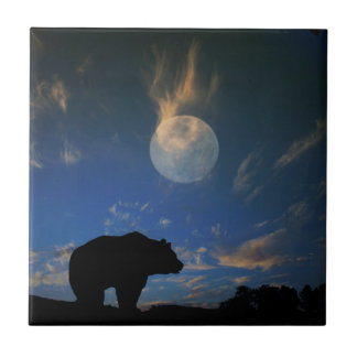 Beautiful Bear and Moon Art Tile