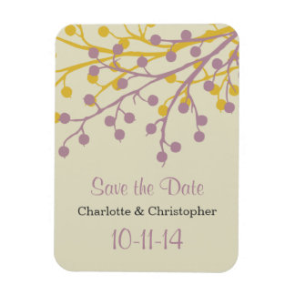Beautiful Berries Save the Date Magnet Flexible Magnets