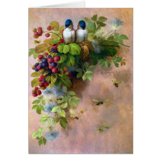 Beautiful Berry Vines and Blue Birds Greeting Cards