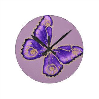 Beautiful big purple butterfly round clock