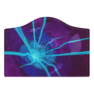 Beautiful Bioluminescent Sea Anemone FractalFlower Door Sign