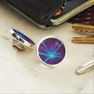 Beautiful Bioluminescent Sea Anemone FractalFlower Lapel Pin