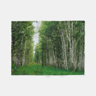 Beautiful Birch Tree Forest Art Fleece Blanket
