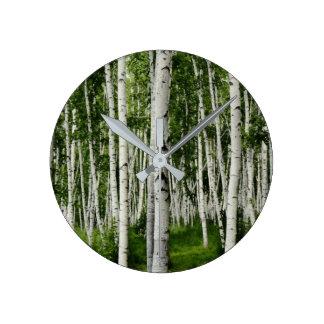 Beautiful Birch Tree Forest Round Clock