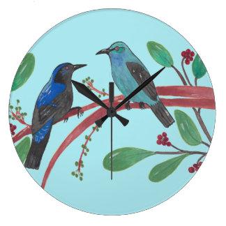 Beautiful Bird Couple Large Clock