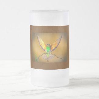 Beautiful Bird Frosted Glass Beer Mug
