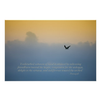 Beautiful bird in clouds with spiritual quote poster