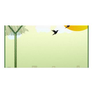 Beautiful birds flying and reddish sun photo greeting card