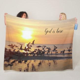 Beautiful Birds Flying at Sunset Beach Photo Print Fleece Blanket
