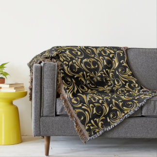 Beautiful Black and Gold Damask Patterns Throw Blanket