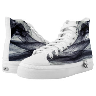 Beautiful Black and white Abstract smoke High Tops