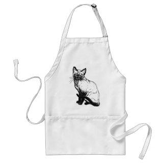 Beautiful black and white artwork - Siamese cat Apron