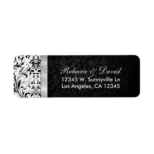 Beautiful Black and White Damask Return Address Label