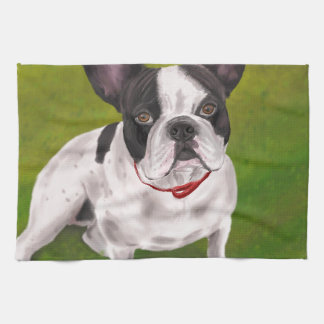 Beautiful Black and white French Bulldog on Grass Tea Towel