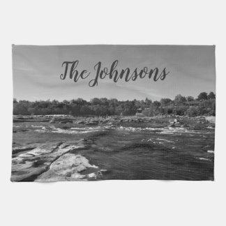 Beautiful Black and white photo of the James River Tea Towel