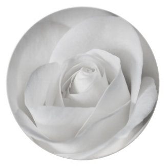 Beautiful Black and White Rose Plate