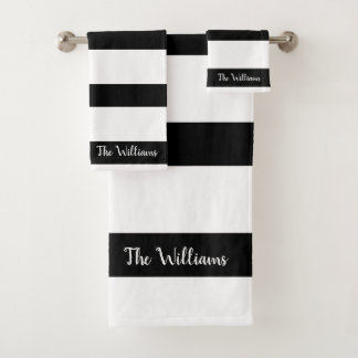 Beautiful Black and White Stripes Bath Towel Set