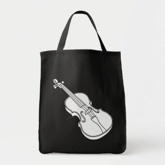 Beautiful Black and White Violin Sketch Outline Tote Bag
