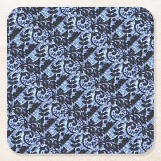 Beautiful black & blue lace fabric detail. square paper coaster