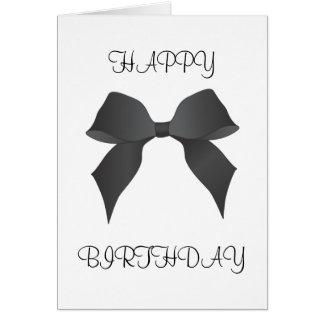 Beautiful Black Bow Happy Birthday Card