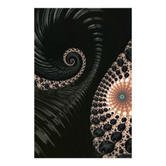 Beautiful Black Fractal Art Decor Customised Stationery
