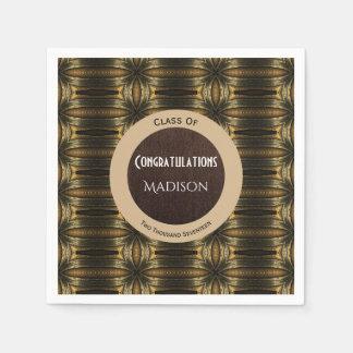 Beautiful Black & Gold Elegance Graduation Disposable Napkin