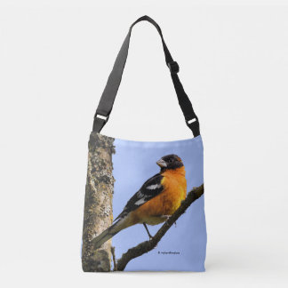 Beautiful Black-Headed Grosbeak in a Tree Crossbody Bag