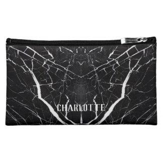 Beautiful black marble Personalized Name Makeup Bag