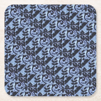 Beautiful black vintage lace fabric detai square paper coaster