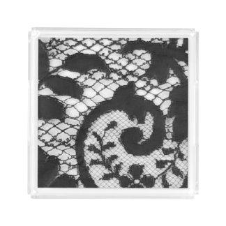 Beautiful black vintage lace fabric detail acrylic tray