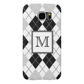 Beautiful Black White and Gray Argyle Monogrammed