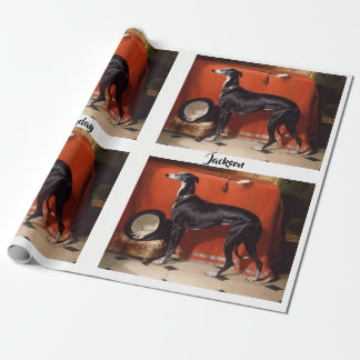 Beautiful Black  & White Greyhound Wrapping Paper