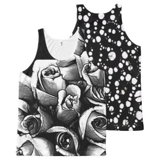 Beautiful Black&White Roses All-Over Print Tank Top