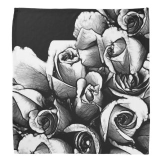 Beautiful Black&White Roses Bandana
