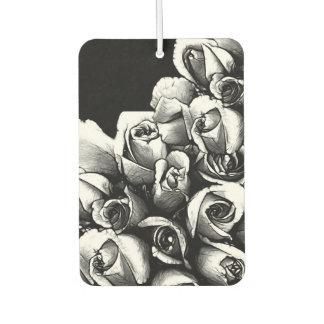 Beautiful Black&White Roses Car Air Freshener