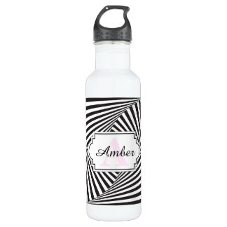 Beautiful Black white spiral optical illusion 710 Ml Water Bottle
