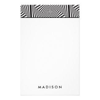 Beautiful Black white spiral optical illusion Custom Stationery