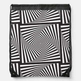 Beautiful Black white spiral optical illusion Drawstring Bag