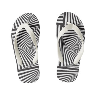 Beautiful Black white spiral optical illusion Kid's Thongs