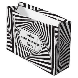 Beautiful Black white spiral optical illusion Large Gift Bag