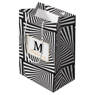 Beautiful Black white spiral optical illusion Medium Gift Bag
