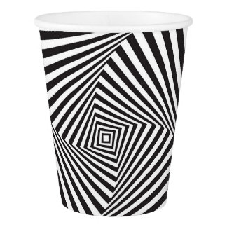 Beautiful Black white spiral optical illusion Paper Cup