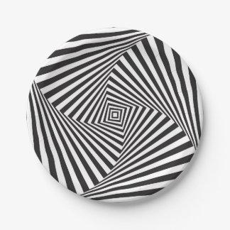 Beautiful Black white spiral optical illusion Paper Plate