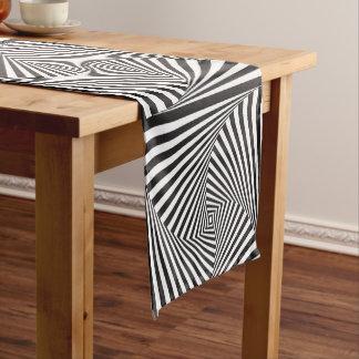 Beautiful Black white spiral optical illusion Short Table Runner