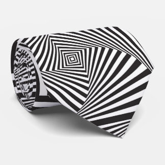 Beautiful Black white spiral optical illusion Tie