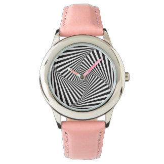 Beautiful Black white spiral optical illusion Watch