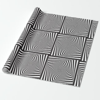Beautiful Black white spiral optical illusion Wrapping Paper