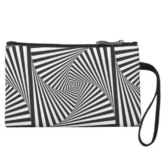 Beautiful Black white spiral optical illusion Wristlet